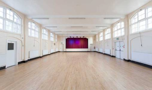 The Main Hall at Hasland Village Hall with a view of the stage.
