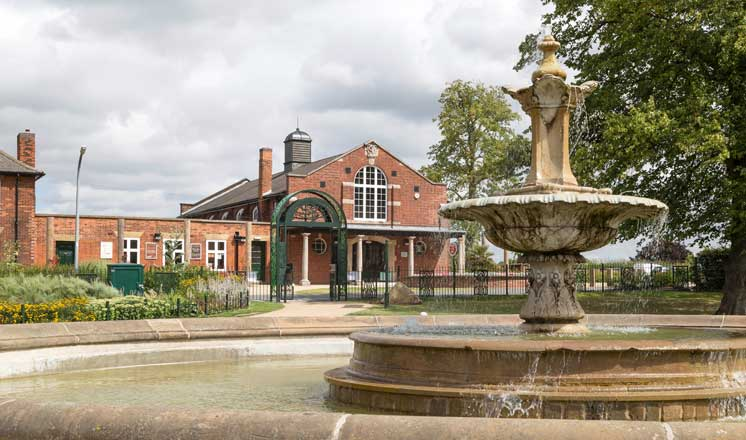 A fountain in front of Hasland Village Hall.