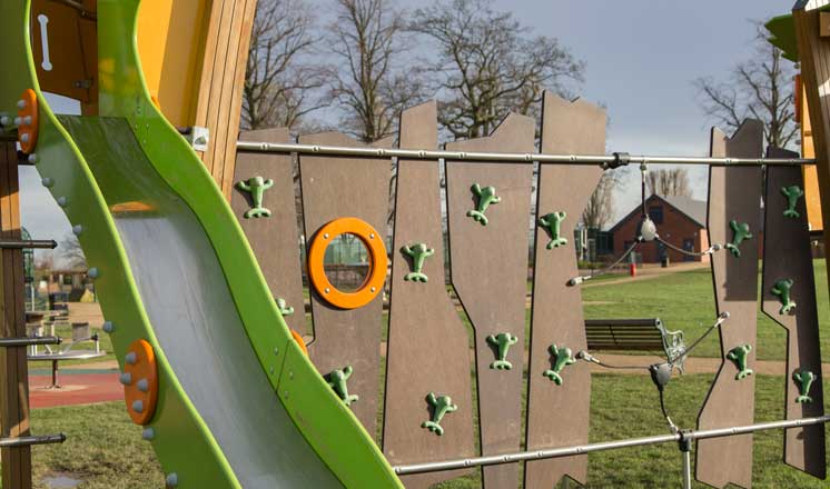 Play equipment at Eastwood Park where Hasland Village Hall is located.