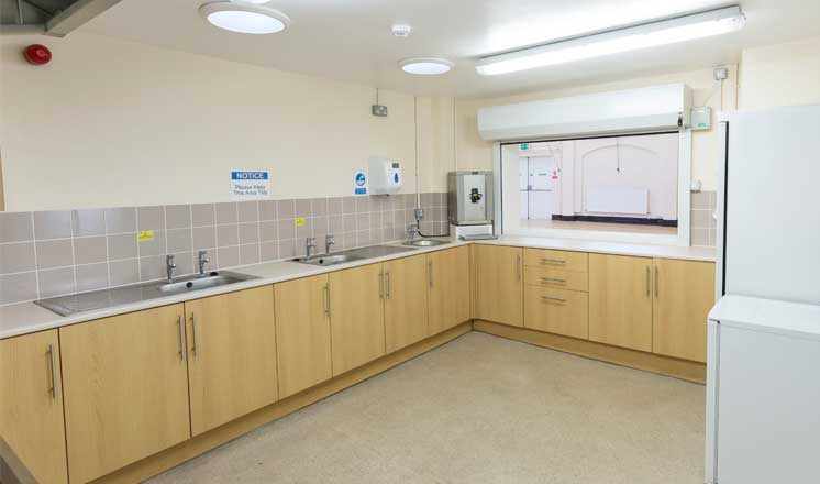 The kitchen at Hasland Village Hall.