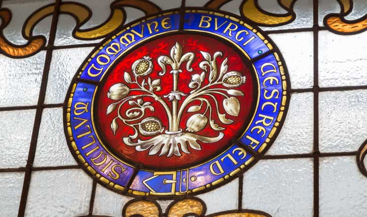 Stained glass window at the Winding Wheel theatre.