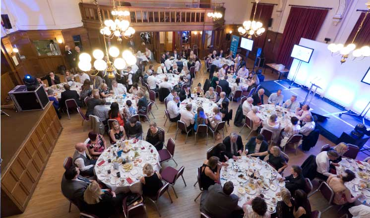 Round tables filled with people at the Chesterfield Retail Awards at the Winding Wheel in Chesterfield.