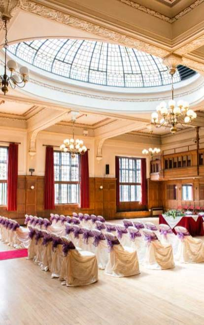 The Winding Wheel ballroom set up for a wedding ceremony.