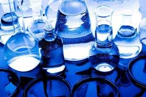 blue flasks