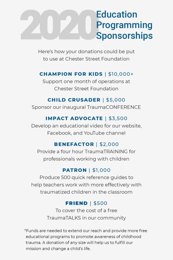 2020 Education Programming Sponsorships