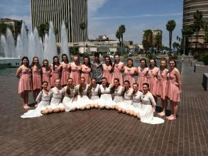 CVDA adjudicated Modern (peach dresses) and Lyrical (white dresses)