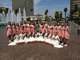 CVDA adjudicated Modern (peach dresses) and Lyrical (white dresses)