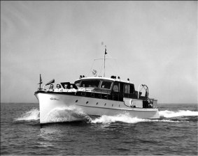 With World War II over, it was time to move up, and move up Chet did with the Courier, his largest yacht. It was built by Grebe, and the Grebes were Chet's personal friends.