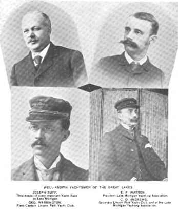 From an 1898 issue of the National Magazine, some well-known yachtsmen of the Great Lakes. Yachting was a well respected and exciting sport in this region; for Warrington, there was both recreation and livelihood in it. He is shown as the Fleet-Captain for the Lincoln Park Yacht club. The Lincoln Park Club was fairly new, having been organised in 1890.