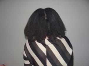 cheveux crépus étirés au sèche cheveux -tension method