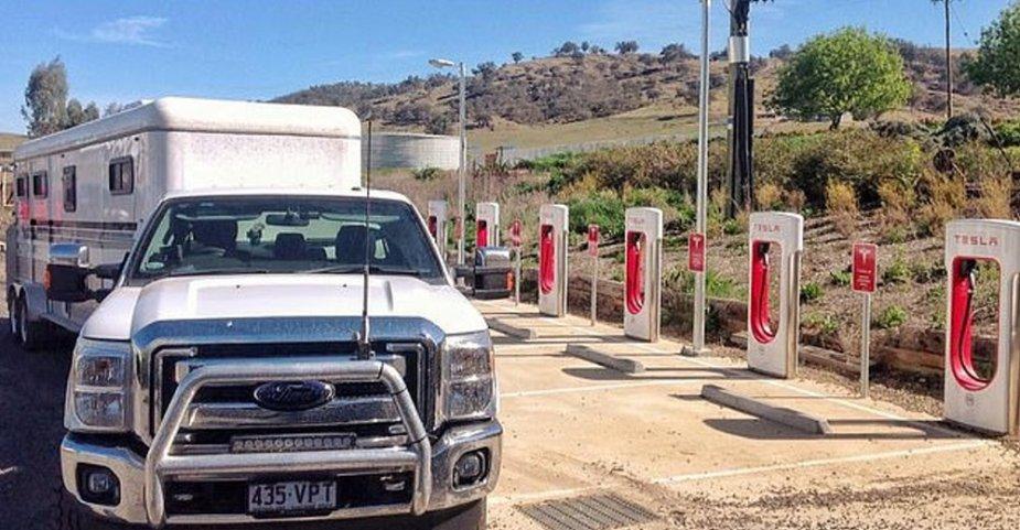 Ford Truck Blocking Tesla Stations