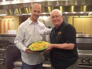 Cafe Rio's marketing director, Ben Craner (left) and CEO Dave Gagnon (right) in the company headquarters' kitchen.