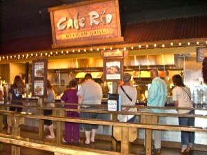 The service line at Cafe Rio, where customers watch as their meal is assembled.