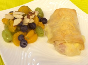 "Cordon Bleu Breakfast Strudel with Fruit Compote from ""What's For DInner?"" by Jana Schofield."