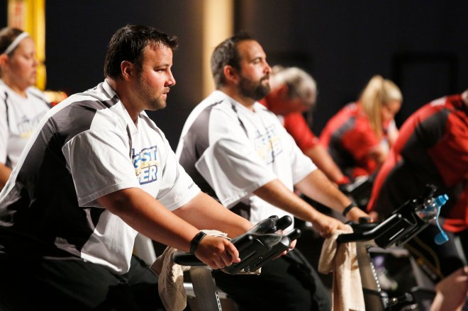 "Matt Miller, who lives in Layton, Utah, is shown competing on ""The Biggest Loser."""