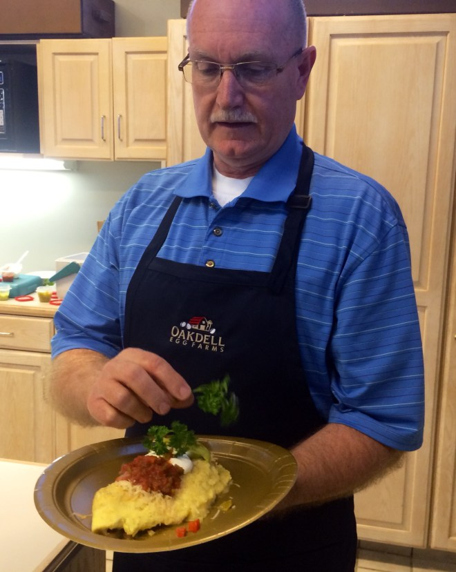 "Dan Waters of Oakdell Eggs won ""Best Tasting"" omelet in Utah's First Annual Omelet Cook-Off, held at the Utah State Fairpark."