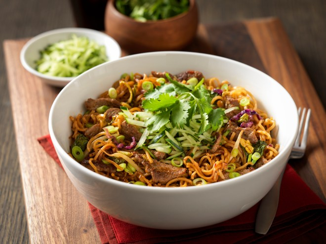 Spicy Korean Beef Noodles, served at Noodles & Company.