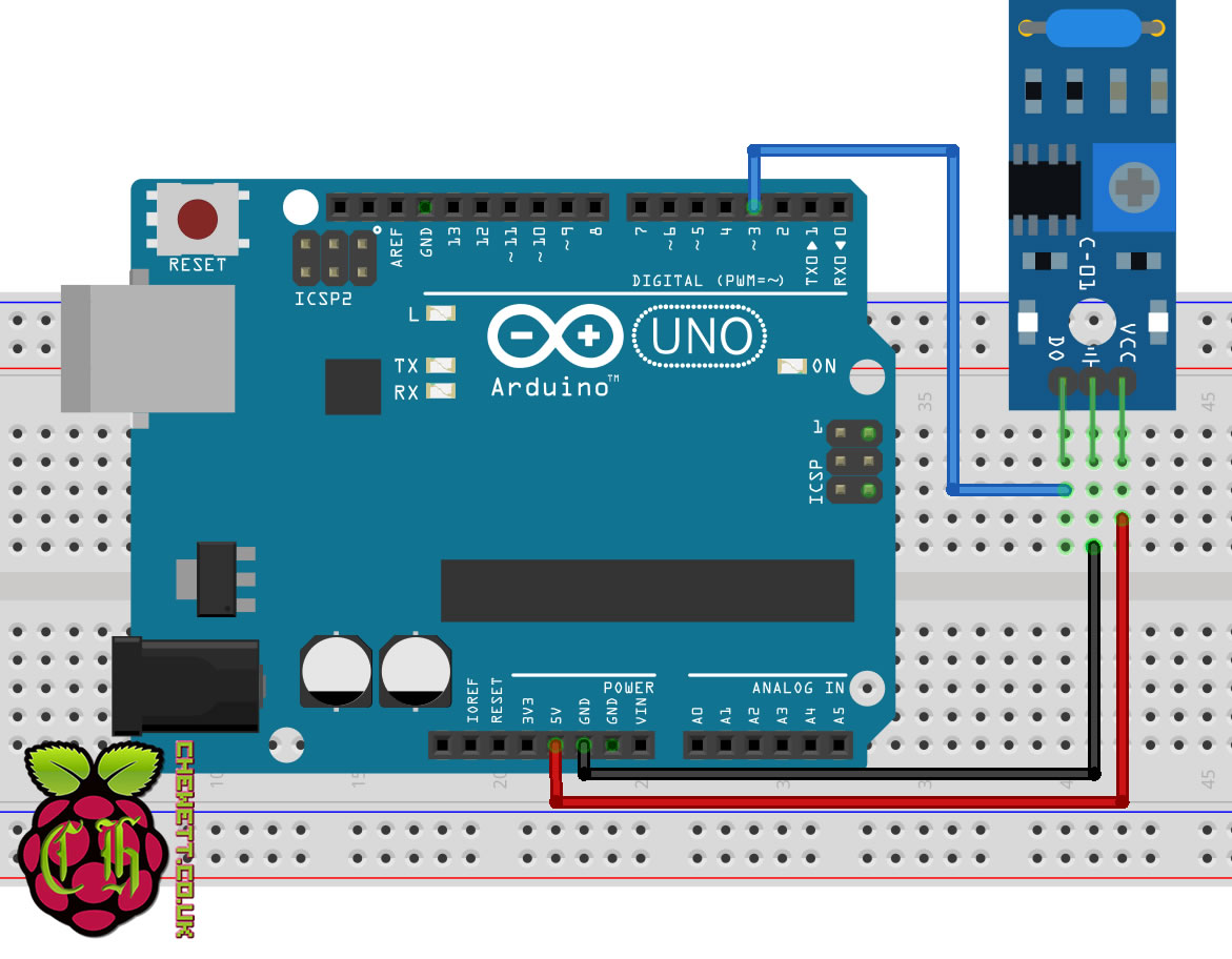 Here the sensor only requires three pins to connect to the Arduino. As in  the diagram to the left the three pins are labelled DO, GND and VCC.