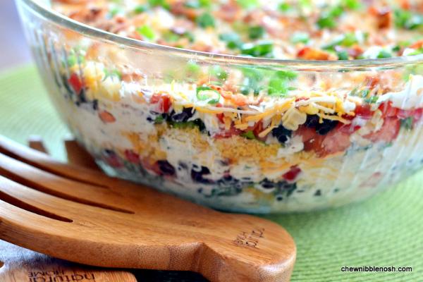 Southwestern Layered Salad - Chew Nibble Nosh