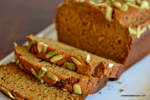 Olive Oil Pumpkin Bread - Chew Nibble Nosh