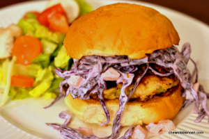 Chicken Burgers with Red Cabbage and Apple Slaw - Chew Nibble Nosh