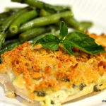 Pine Nut and Parmesan Crusted Chicken with Garlic Basil Green Beans