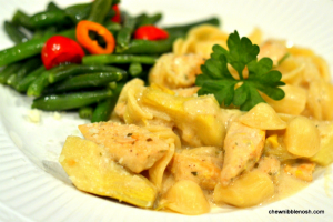 Creamy Orecchiette with Chicken and Artichokes - Chew Nibble Nosh
