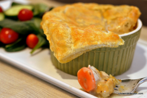 Chicken Pot Pies with Puff Pastry - Chew Nibble Nosh