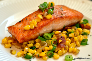 Seared Salmon with Sweet Corn and Bacon Sauté - Chew Nibble Nosh