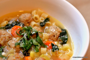 Spring Minestrone with Chicken Meatballs - Chew Nibble Nosh