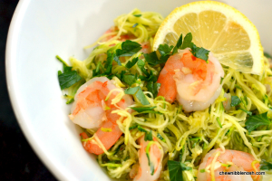 Skinny Shrimp Scampi with Zucchini Noodles - Chew Nibble Nosh