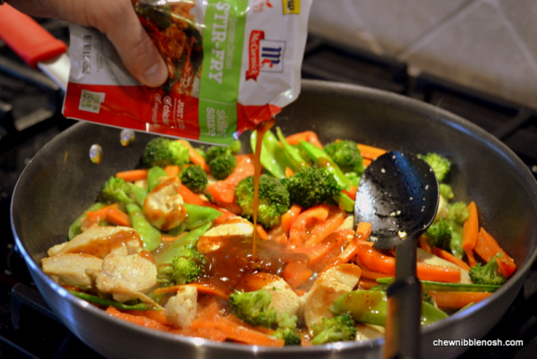 Sesame Chicken Stir Fry - Cooking with McCormick Skillet Sauces 4 - Chew Nibble Nosh