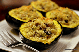 Acorn Squash Stuffed with Turkey, Quinoa, Cranberries and Feta - Chew Nibble Nosh