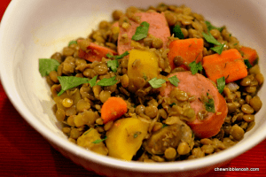 Lentils with Smoked Sausage and Carrots  - Chew Nibble Nosh