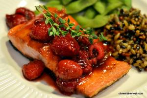 Peach Glazed Salmon with Raspberries - Chew Nibble Nosh