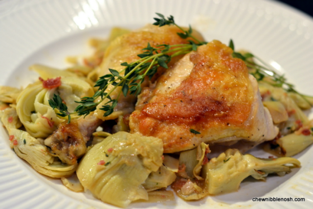 Roasted Chicken with Artichoke Hearts and Pancetta - Chew Nibble Nosh