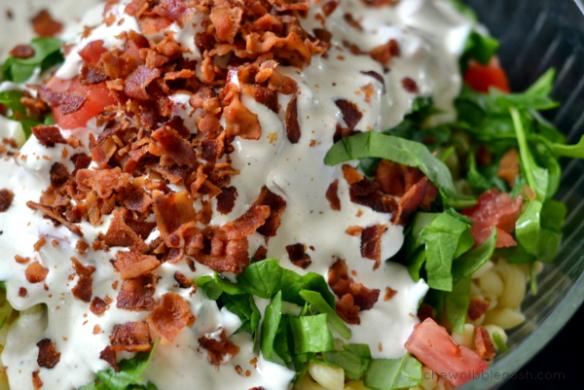 BLT Macaroni Salad - Chew Nibble Nosh 5