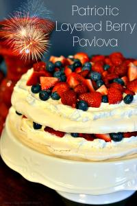 Patriotic Layered Berry Pavlova - Chew Nibble Nosh