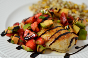 Chicken Cutlets with Strawberry, Avocado, and Basil Salsa - Chew Nibble Nosh