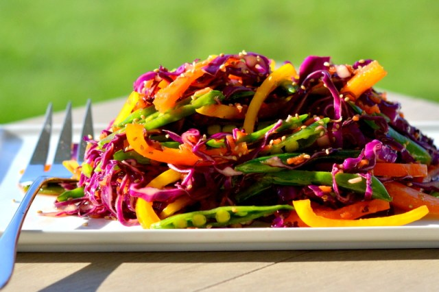 Rainbow Slaw with Sesame Honey Lime Dressing
