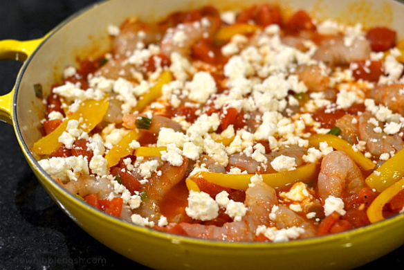 Greek Roasted Shrimp with Tomatoes and Feta - Chew Nibble Nosh 4