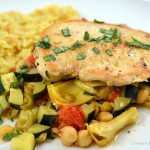 Mediterranean Chicken Skillet with Zucchini, Chickpeas, Olives and Tomatoes