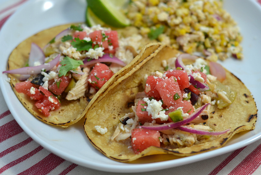 Easy Chicken Tacos with Fresh Watermelon Salsa