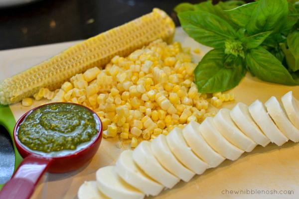 Sweet Corn, Tomato and Pesto Pizza - Chew Nibble Nosh 2