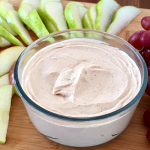 Creamy Peanut Butter Fruit Dip | Healthy Greek yogurt & peanut butter dip sweetened with just a touch of honey, tastes so good...your mouth will think you're misbehaving!