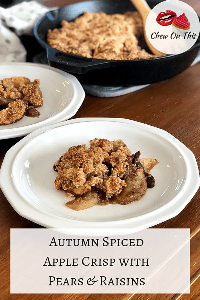 Paleo Apple Crisp | All the flavors of Fall are in this apple crisp with pears and raisins!