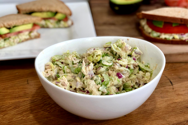 Easy Tuna Salad | Tuna, lettuce, onions and celery make such a delicious salad...you might just eat it all up with a spoon!