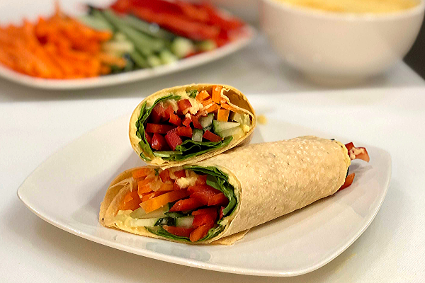Fresh Veggie Hummus Wraps