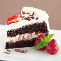 Double Chocolate Cake with Kahlua Whipped Cream and Strawberries