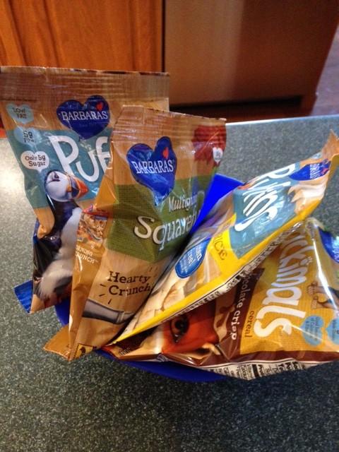 Barbara's High fiber, low sugar, cereals and snacks.